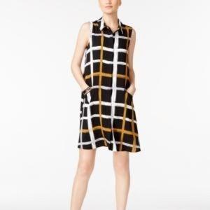 Alfani Black Tawny Plaid Dress